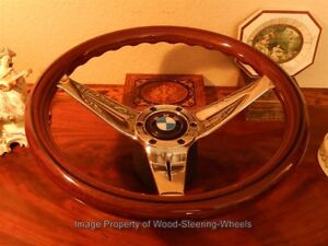 Bmw E10 2000 Wood Steering Wheel Deep Dish Vintage Hub Nardi Bmw Horn Button