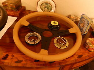 Ferrari 328 Gtb Steering Wheel Light Tan Leather Fit Momo Ferrari Hub