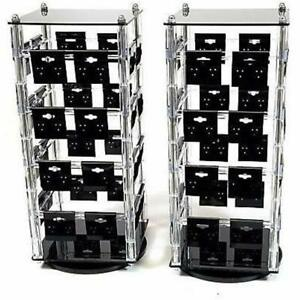 Two New Clear Rotating Earring Display Stands With 64 2 Inch X Black Cards