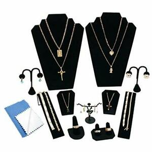 12 Piece Combination Set Black Velvet Jewelry Necklace Bracelet Earring Ring