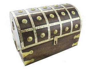 Large Pirate Treasure Chest 14 X8 X9 Brass Decorative Keepsake Box Lock Hasp