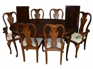 Vintage Thomasville Queen Anne Table W Six Chairs Two Leaves