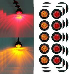 Purishion 10x 3 4 Round Led Clearence Light Front Rear Side 12v Red amber
