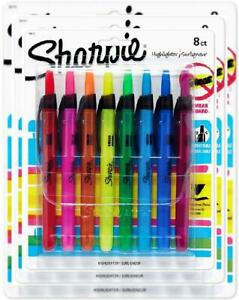 Sharpie 28101 Accent Retractable Highlighters Chisel Tip Assorted 8 count