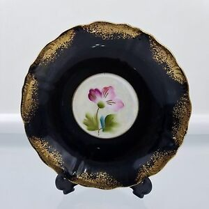 Saucer Royal Sealy China Cobalt Black Gold Luster Floral Made In Japan