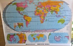 New Rand Mcnally World United States Pull Down Classroom Map Set Grade 2 3 4 5