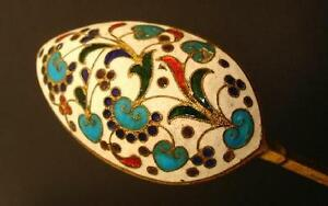 Original Large Russia Spoon Cloisonne Enamel Silver 84 Russian Imperial Antique