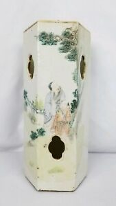 Antique 19th Century Chinese Hexagonal Porcelain Hat Stand Qianjiang Writing
