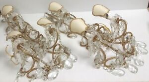 Antique Pair Italian Crystal Macaroni Beaded Wall Sconce Chandelier 3 Light 29