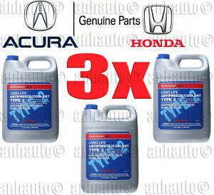 3x Gallon S Genuine Honda Acura Long Life Antifreeze Coolant Blue Color