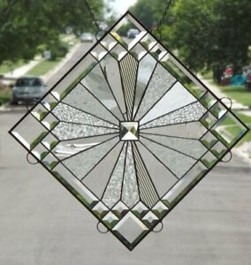 Twinkle Beveled Stained Glass Window Panel 18 X 18 Diagonal 26