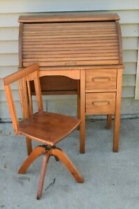 Antique Child S Roll Top Desk And Swivel Adjustable Chair