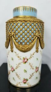 Exceptional Bronze Ormolu Hand Painted Porcelain Jar W Lid Sevres Style 19th C