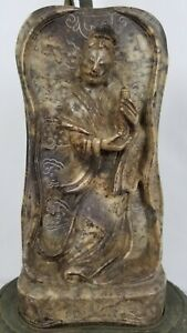 Exceptional Antique Guanyin Kuan Yin Soapstone Chinese Carving Lamp