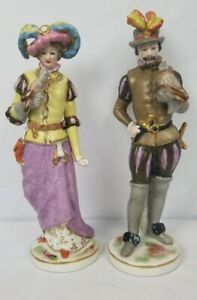 Antique Capodimonte Porcelain Figurine Pair