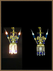 1 Vintage Cobalt Blue Accent Crystals Chandelier Ceiling Light Fixture Swag