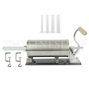 6lbs Sausage Stuffer Maker Machine Homemade Stainless Steel 4 Tubes 2 Clamps