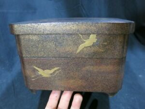 Vintage Jappaned Lacquer Ware Genuine Antique Luch Box Late Edo Era Japan