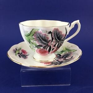 Queen Anne Bold Floral Bone China Tea Cup And Saucer England Teacup Vintage