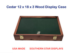Cedar Wood Display Case 12 X 18 X 3 For Arrowheads Knifes Collectibles More
