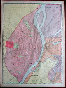 St Louis Missouri City Plan 1906 Huge Detailed Rand Mcnally W Expo Grounds Map