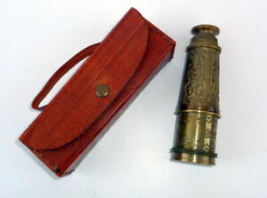 Antique Brass Engraved Nautical Spyglass Dolland London 1920 Telescope With Case