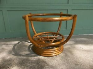 Vintage Mid Century Roiund Bamboo Rattan Tiki Side Coffee Table Base Only