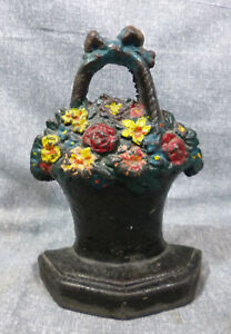 Antique Mixed Flowers In Basket With Bow Cast Iron Book End Or Doorstop