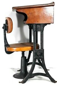 Antique Vintage Heywood Eclipse Adjustable School Chair And Desk Wood