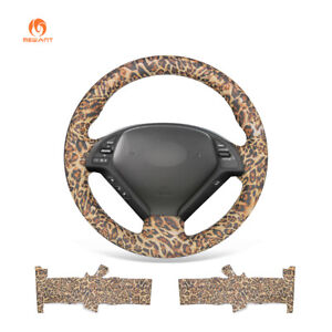 Diy Leopard Pu Leather Steering Wheel Cover For Infiniti G35 G37 Qx50 Ex35 Ex37