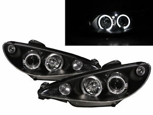 206 206 Cc 2002 2009 Facelift Led Halo Projector Headlight Black For Peugeot Lhd
