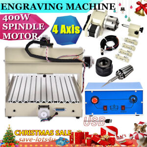 4 Axis 3040 Cnc Router Engraver Engraving Drilling Mill Wood Machine 400w Usa