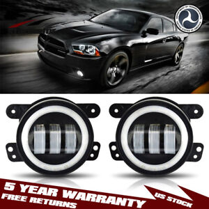 4 30w Led Halo Fog Lights White Drl Driving Lamps For Dodge Charger 2011 2014