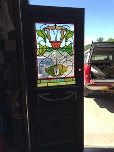 An 553 Antique Stained Glass Entrance Door 31 75 X 83 5 By 1 5
