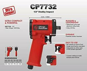 New Chicago Pneumatic 1 2 Dr Ultra Compact Stubby Impact Wrench Cp 7732 No Box
