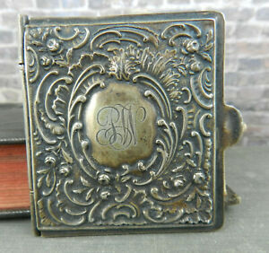 Antique Repous Sterling Silver Hinged Purse Pocket Note Book