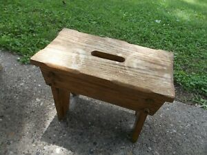 Vintage Solid Oak Primitive Wooden Country Rustic Farmhouse Bench Milking Stool