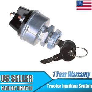 Silver Universal 3 Position Ignition Starter Key Switch Fit Car Tractor Trailer