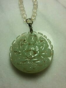 Old Chinese Carved Pale Green Jade Buddha Pendant Lemon Quartz Coin Necklace