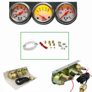 Aaa Universal 50mm Chrome Oil Pressure Water Volt Triple 3 Gauge Set Gauges Kit