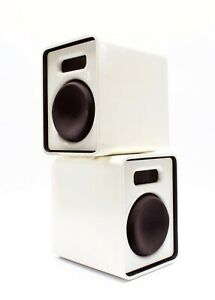 Pair Mid Century Modern Space Age White Speakers
