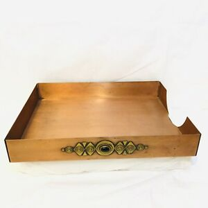 Vintage Handcrafted Copper Organizer In Box Desk Letter Tray Southwestern Design