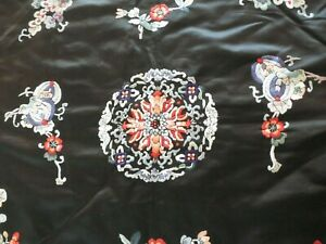 Vintage 1940s Chinese Embroidered Silk Cloth Table Cloth Floral