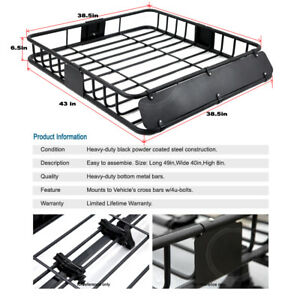 Car Suv Van Roof Top Rack Travel Basket Storage Blk Steel wind Fairing For Vue