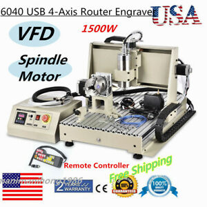 6040 Usb 4 axis Router Engraver 1500w Vfd 3d Metal Wood Carving Milling Machine