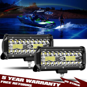 2x 7inch 800w Pods Spreader Led Deck marine Waterproof Light For Boat 12v Vs 18w