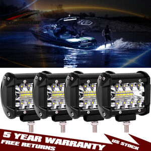 4x 4inch 800w Spreader Led Deck marine Waterproof Light For Boat Pods Lamps 12v