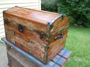 Blackdog Antique Steamer Stage Coach Trunk Sea Chest 1800 S Nautical