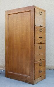 Oak Antique 4 Drawer Office Or Library Filing Cabinet
