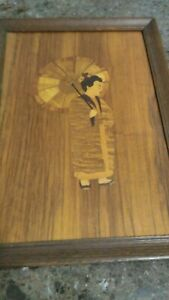 Vintage Wood Inlay Marquetry Picture Oriental Lady Mediu 11 X 15 Many Woods Ec